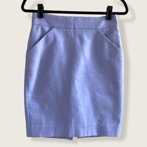 J. Crew Pencil Mini Skirt Cotton Periwinkle 0